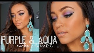 Purple & Aqua Spring Makeup Tutorial ♡ Thumbnail