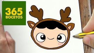 COMO DIBUJAR UN NIÑO RENO PARA NAVIDAD PASO A PASO: Dibujos kawaii navideños - draw reindeer child