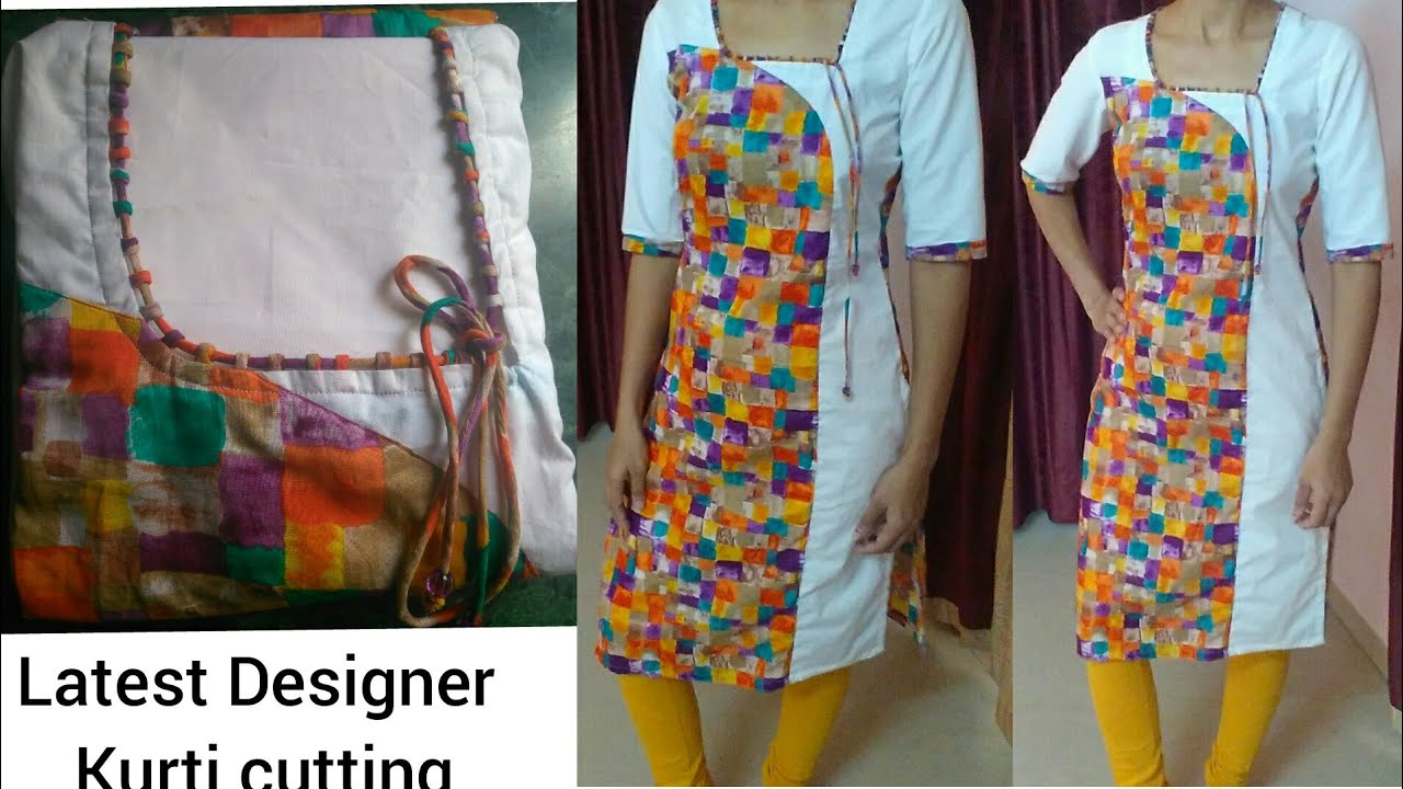 Latest Designer Kurti Cutting With Churidar Neck Design Youtube