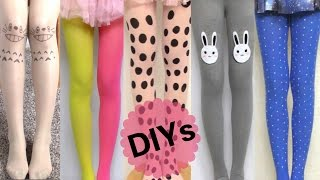 5 Tights DIYs:DIY Two Toned Tights+Totoro Tattoo Tights+Polka Dots Tights+Bunny Tights