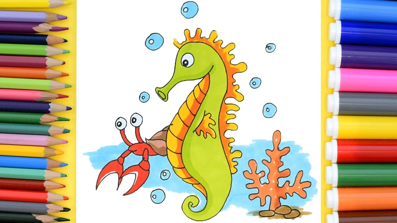 Seahorse Coloring Pages. How to Draw Seahorse - YouTube