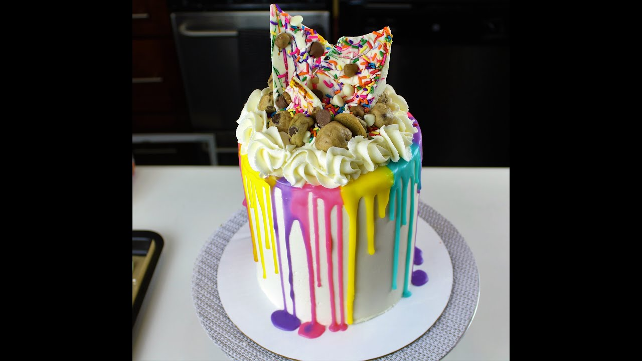 Easy Colorful Drip Cake With Edible Cookie Dough I
