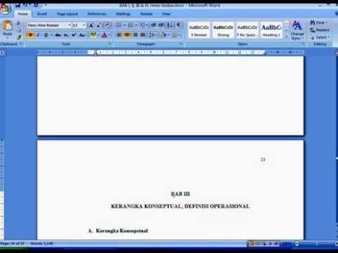 Daftar Isi Otomatis dan Penomoran Halaman Ms Word 2007