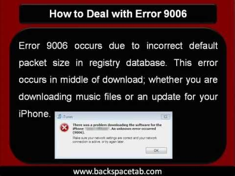 How To Deal With Error 9006 Youtube