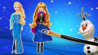 올라프와 마법의 방 엘사 안나로 변신 플레이도우 인형옷 만들기 헬로라라