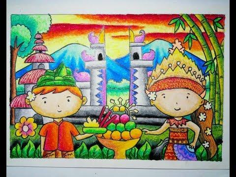 Cara Mewarnai Gradasi Crayon Pakaian Adat Bali Download Or Watch