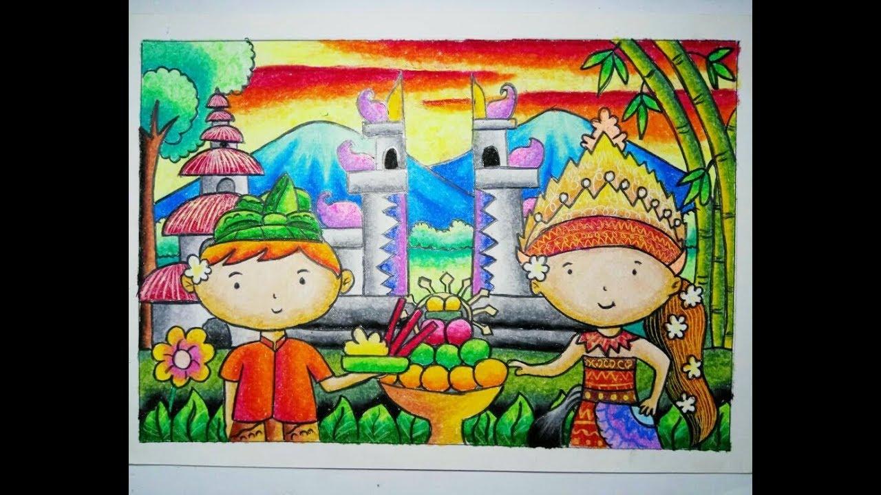 Cara Mewarnai Gradasi Crayon Pakaian Adat Bali Youtube