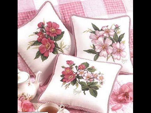 خداديات بغرزة الكنفا  cross stitch designs for cushions