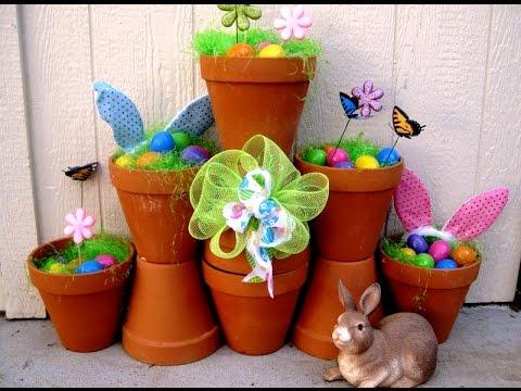 Outdoor Easter  Decorations using Terra Cotta Pots ~ Featuring Miriam Joy