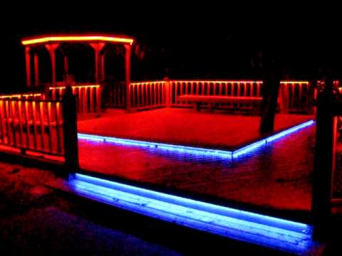 LED RGB Flex-Strip Rope Light under railing around deck, stair treads Deck Rope Lighting Ideas on deck bench ideas, floor lighting ideas, deck accessories ideas, deck rail lighting, deck lighting kits, garden lighting ideas, deck lighting battery, covered deck ideas, deck tile ideas, deck rope lighting on roof, above ground pool lighting ideas,
