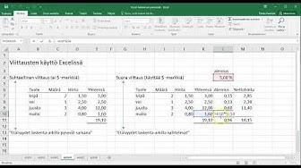 Excel 2016 (IV) - Suhteellinen ja suora soluviittaus, kaavan lukitus ja dollari($)-merkin käyttö