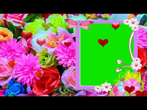FLOWERS AND HEARTS FRAME GREEN SCREEN EFFECT 23 thumbnail