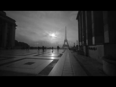 Eiffel Tower Black and White Stock Footage