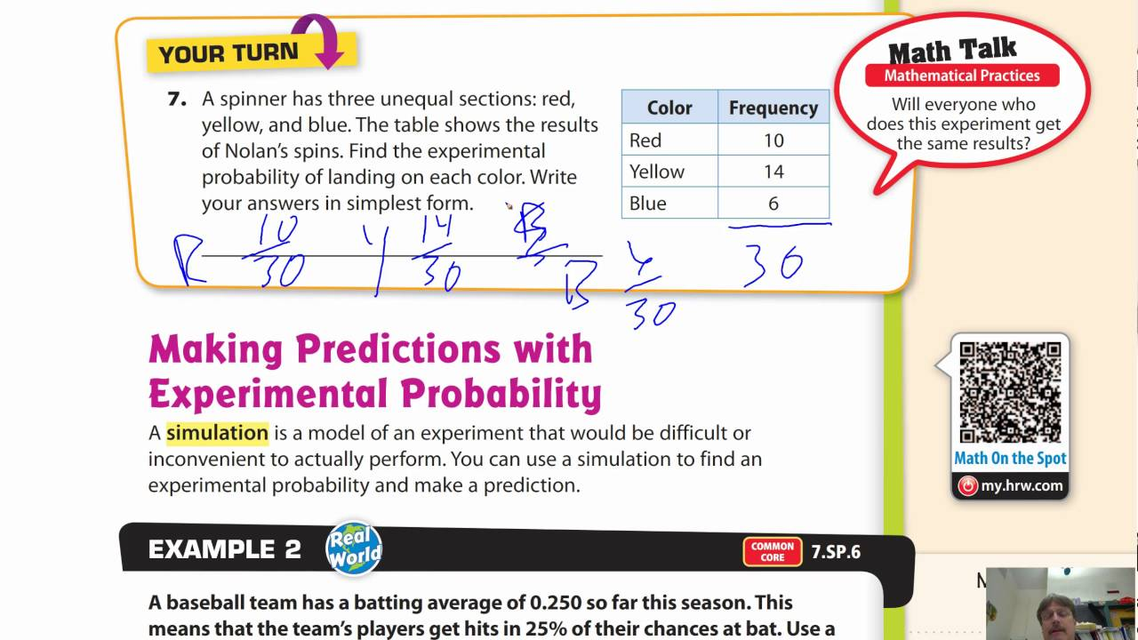 hight resolution of Lesson 12.2 Experimental Probability of Simple Events - YouTube
