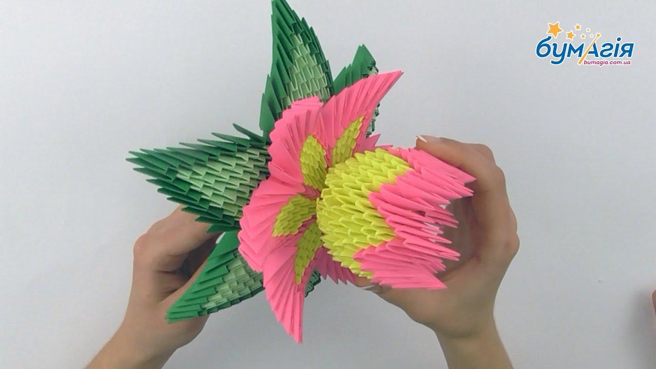 Лотос из бумаги оригами модульное