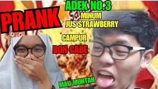 PRANK ADEK NO.3 MINUM JUS STRAWBERRY CAMPUR BON CABE LEVEL 10 | SAMPE MAU MUNTAH