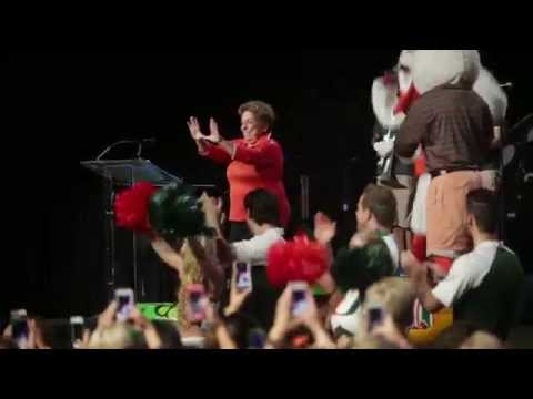President Donna E. Shalala accepts the Ice Bucket Challenge