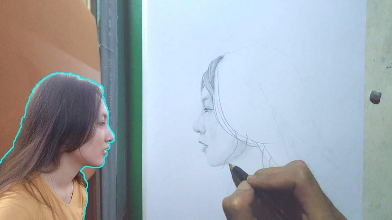 Menggambar Wajah Wanita Cantik Tampak Dari Samping