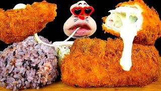 ASMR MUKBANG :) Giant Cheese Pork Cutlet Eating Show!