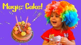 Lera pretend play with magic wand and make delicious cake and funny tea