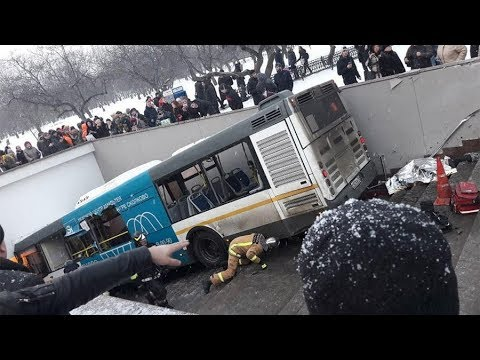 Runaway Bus Crashes into Underground Passage in Moscow, Russia