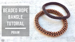 Beaded rope bangle tutorial | Prismatic Right Angle Weave