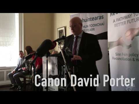 David Porter and Martin McGuinness speak at Sinn Fein reconciliation policy launch