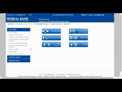 Federal Bank internet banking tutorial