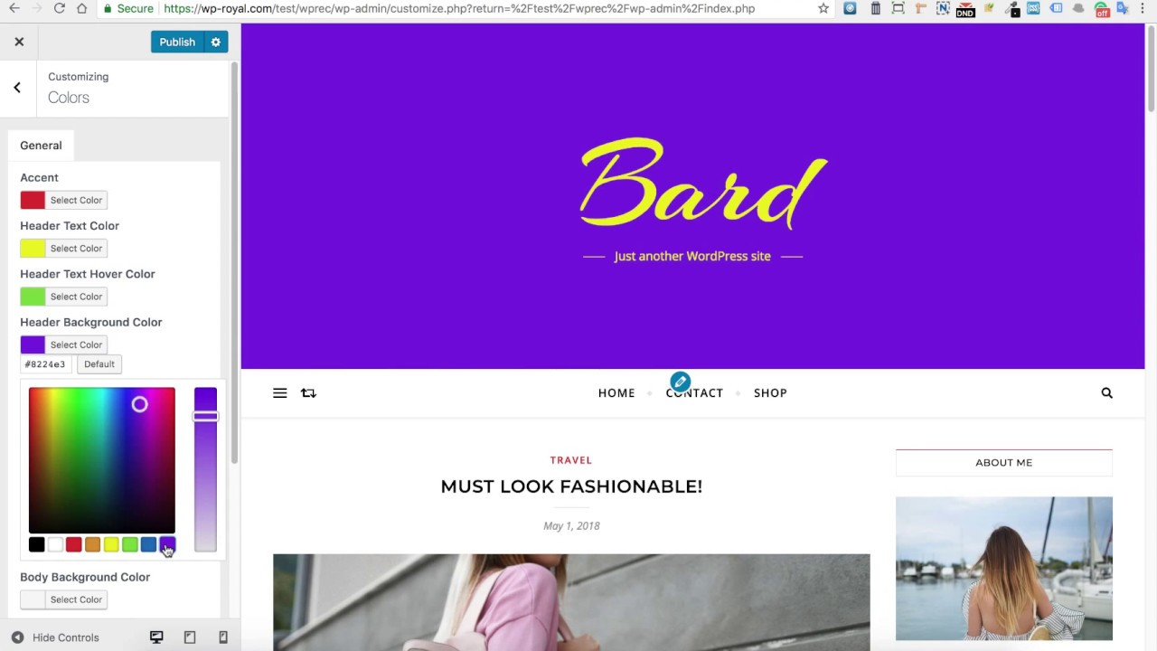 How to Change Colors in the Bard Free Wordpress Theme
