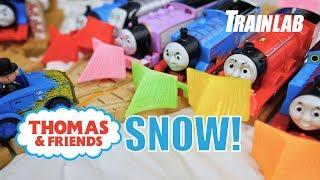 GIANT SNOW STORM on Sodor! Thomas Tank & Friends   Toys trains fun for kids   Train Lab