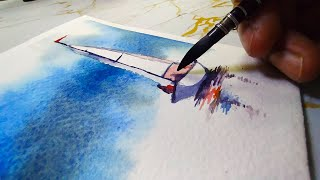 How to paint a FOGGY SEASCAPE with BOAT in Watercolor?⛵