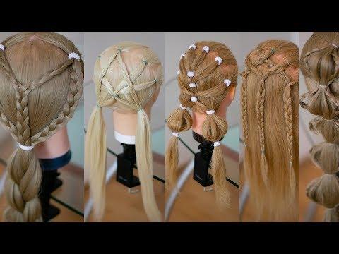 Топ 5 Быстрые и простые детские причёски в школу и детский сад  Hair tutorial