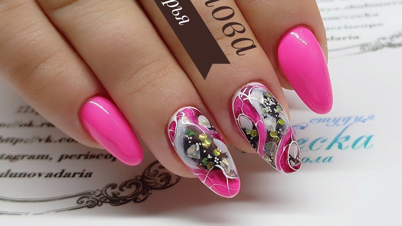 Аквариумный дизайн на натуральных ногтях