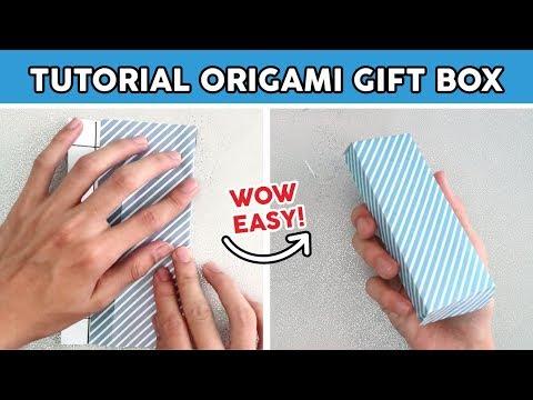 CARA MEMBUAT KOTAK KADO PERSEGI PANJANG DARI ORIGAMI, How To Fold Gift Box Easy TUTORIAL WOW
