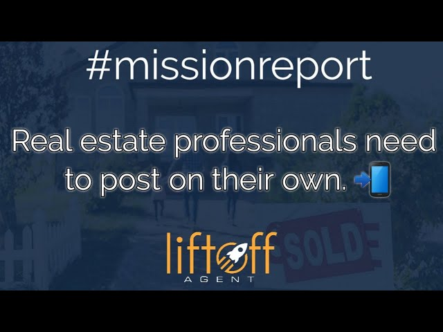#missionreport Real Estate professionals need to post on their own