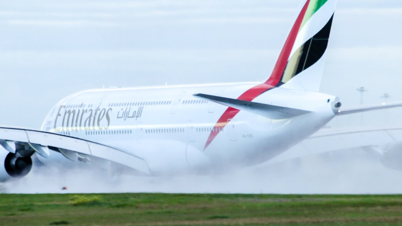 The power of the A380 video takeoff in a snowy cloud 81
