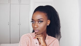 HOW TO: Ponytail On 4c Natural Hair   with Marley Hair.