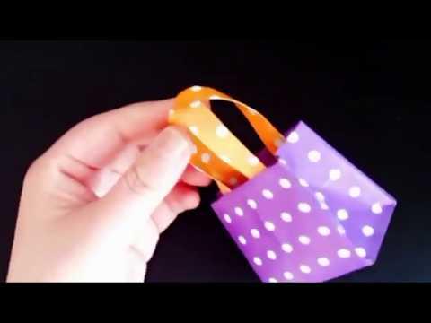Easy Making Cute Origami  Bag DIY Paper Bag with Kids for fun