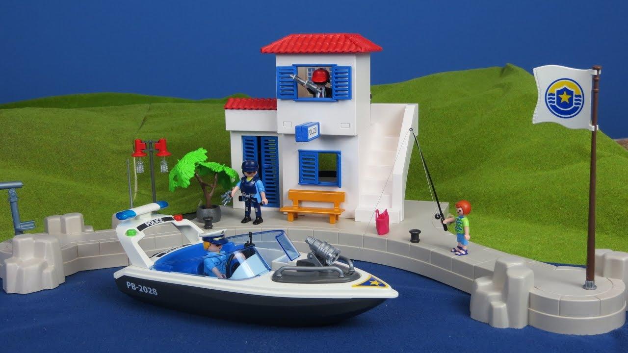 playmobil polizei hafenpolizei polizeistation mit boot