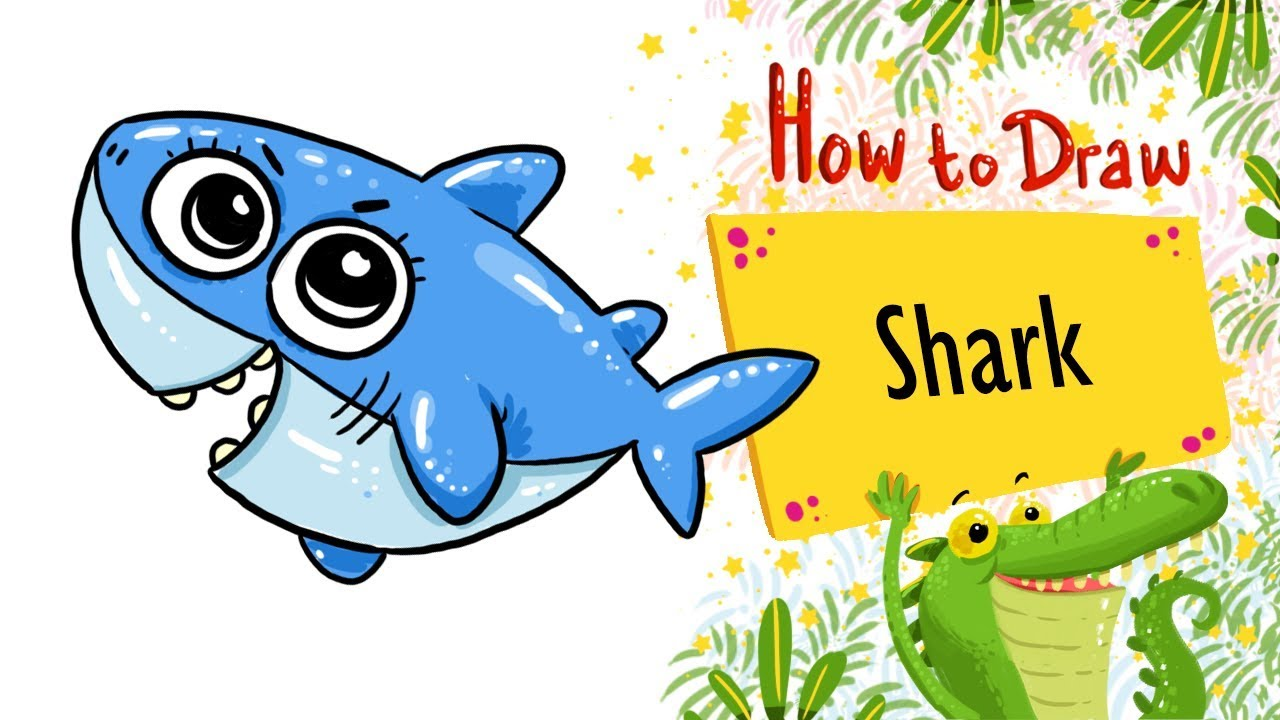 How To draw and Colour ~ A Cute baBy shark simple and easy