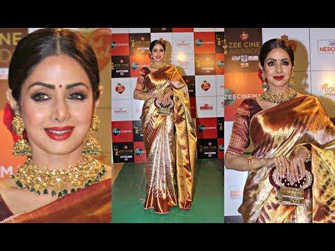 Sridevi Hot In Kanjeevaram Saree At Zee Cine Awards 2018