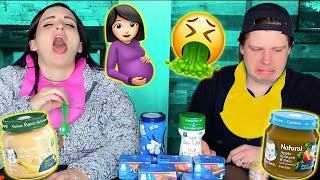 Pregnant Woman Tries Baby Food For The First Time