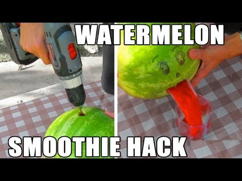 Make Watermelon Smoothies in Seconds with a Drill and a Coat Hanger