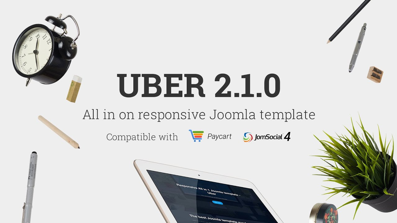 uber - responsive all in one joomla template - intro video - youtube, Powerpoint templates