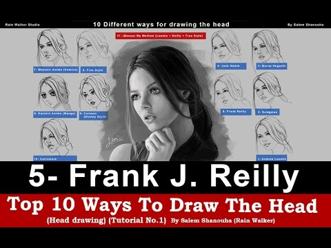 Top 10 ways to draw the head [5- Frank Reilly] -Tutorial No.1-