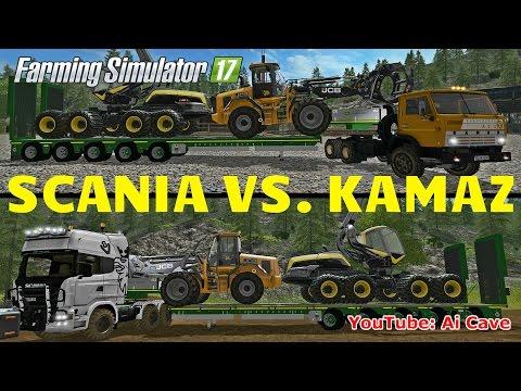 Farming Simulator 17 Hauling Test - SCANIA AGRO VS KAMAZ 54101in Montana Mountains