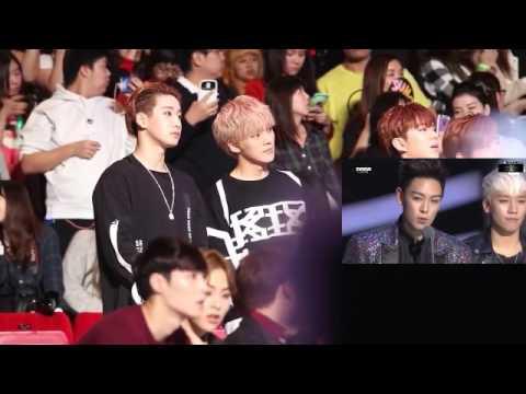 EXO , MONSTA X reaction to BIG BANG speech - Song of the year MAMA 2015