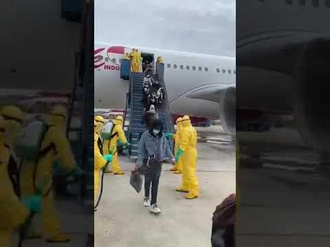 Indonesian airline sprays arriving passengers