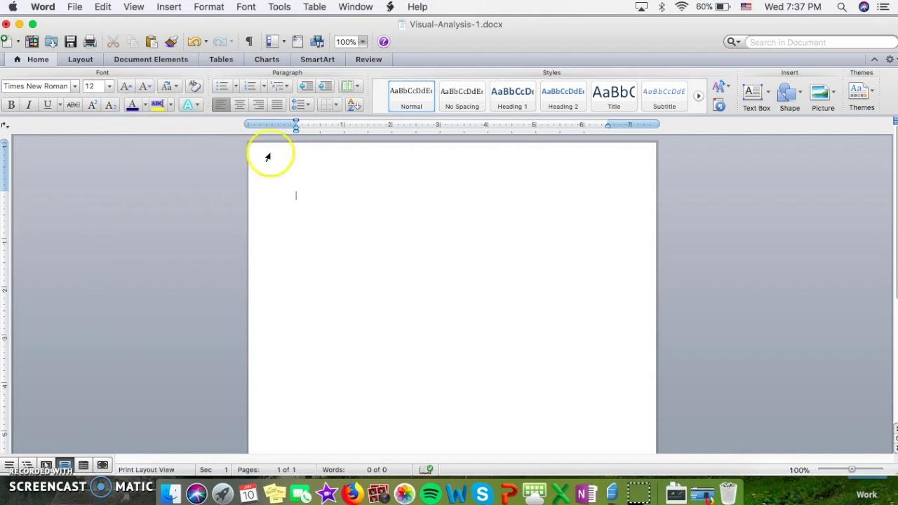 mla page setup using microsoft word for macs
