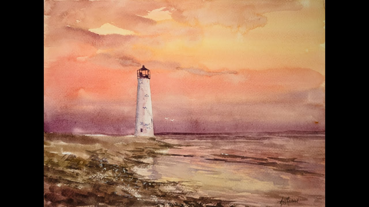 Sunset With A Lighthouse In Watercolor Youtube